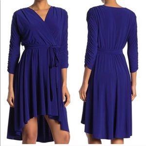 Eliza J Ruched Sleeve Cobalt Surplice Dress